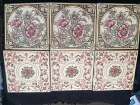 Ceramic Tiles(Colourful patterned flowers) x6