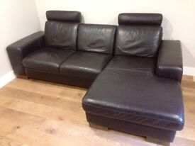 Dark brown leather corner Sofa. Urgent, must go!