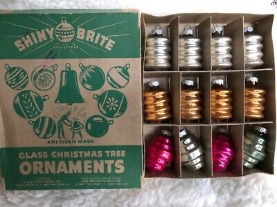 Shiny Brite Vintage Halloween (Vintage Shiny Brite Box of 12 Fancy Glass ornaments)
