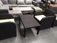 2 NEW RATTAN STYLE CHAIRS WITH COFFEE TABLE