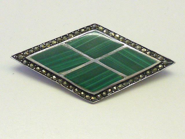 "Art Deco Green Malachite & Marcasite Sterling Silver Brooch PIN 2.25"""