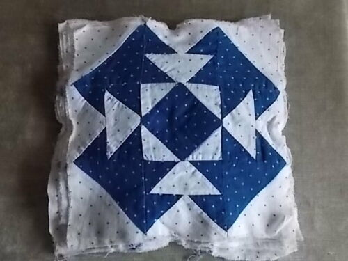 "Antique Indigo and Light Shirting T-Square Quilt Squares 9"" -Great Project Piece"