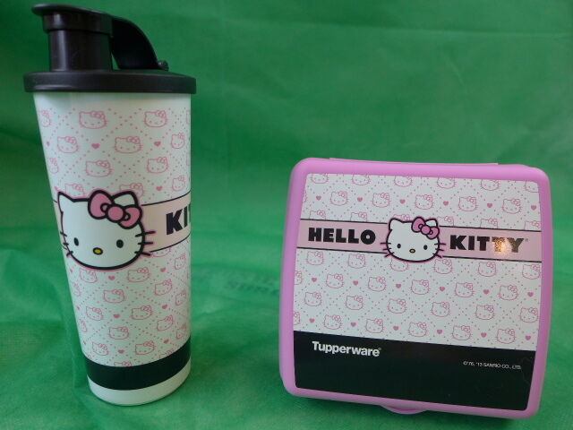 Tupperware Hello Kitty Quilted Lunch Set Sandwich Keeper & Tumbler Free Straw