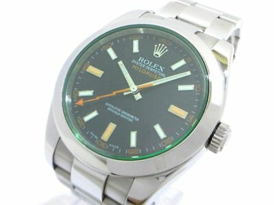 Auth ROLEX Milgauss 116400GV Silver Black Men's Wrist Watch V215610