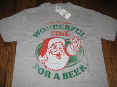 Christmas Santa Claus Wonderful Time For a Beer -T-Shirt S-M-L-XL-2XL New W/Tag ()