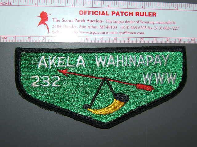 Boy Scout OA 232 Akela Wahinapay flap 1457M