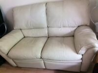 Cream Leather 2 Seater Recliners Sofa