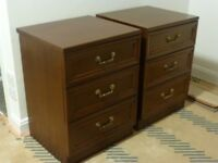 Bedroom Furniture - G-Plan Dark Wood Bedside Chests of drawers. Good condition. Buyer collects