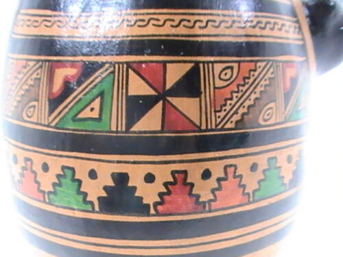 "PERU INCA Murals Pottery Art Deco Hand Painted Handcrafted Jaguar 8.5"" tall"