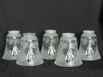Set of 5 Light Shades Clear Satin Glass 2 1/4 Ceiling Fan Chandelier Wall Sconce 5 Light Satin Glass