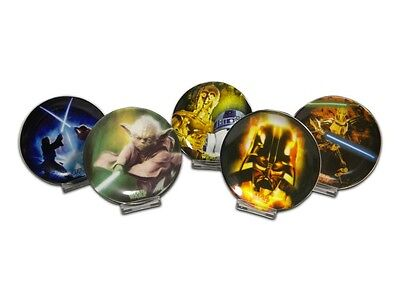 Star Wars Mini Painted Plates Lot of 5 Different with Display Stands
