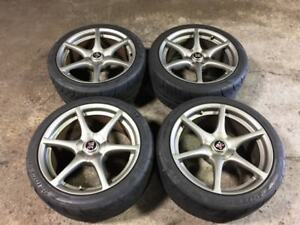 JDM NISSAN SKYLINE GTR R34 WHEELS MAGS WITH TIRES 18 INCH OEM