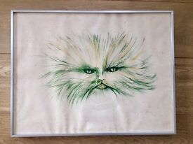 limited edition etching-Green Cat by Regis Dho French impressionist
