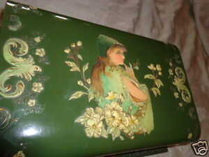 RARE-ANTIQUE-VICTORIAN-CELLULOID-EMBOSSED-LADY-FLORAL-CHERUBS-DRESSER-TOILET-BOX
