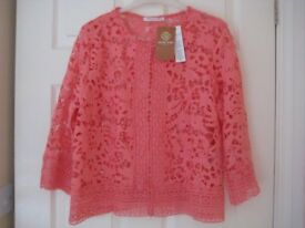 NEW WITH TAGS BRODERIE ANGLAISE TOP/ BOLERO/CARDIGAN - XL (18) - KLASS, ANNA ROSE