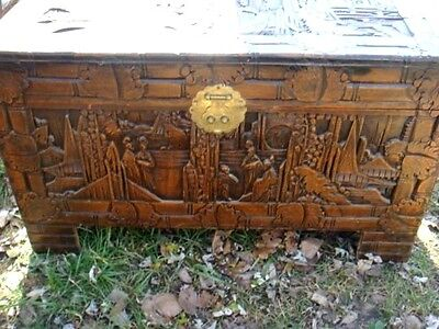 Hand carved Asian camphor wood Trunk -Chest 40 in long x20 x23  excellent cond