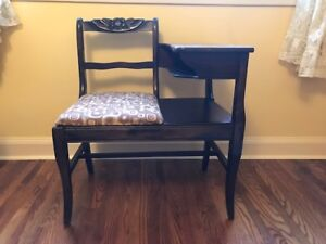 VINTAGE FRANKSON DARK WOOD PHONE TABLE, GOSSIP CHAIR, DESK, BENC