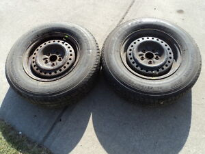 2 Motomaster Tires with Rims for Caravan 205/75/14