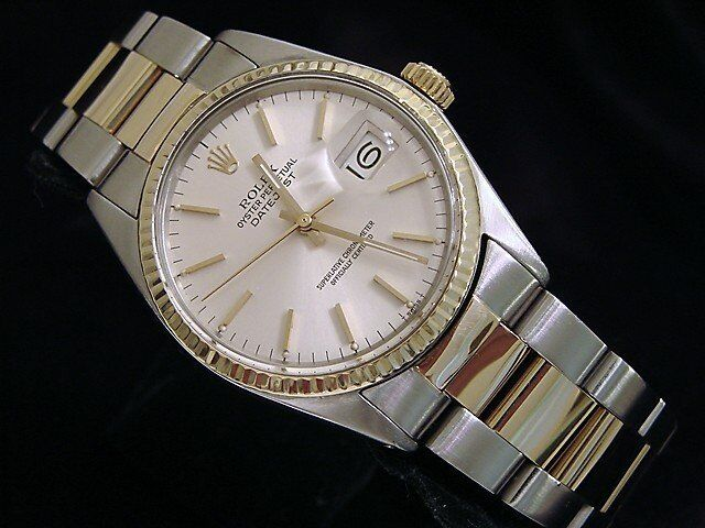 Rolex Datejust Mens 2tone Stainless Steel & Yellow Gold Watch Silver Dial 16013