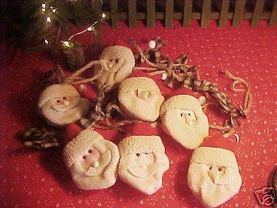 Adorable! Primitive Santa Claus 9 ft. Garland Soft Fleece Faces Twine & Homespun