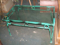 Two Retro glass and wought iron tables