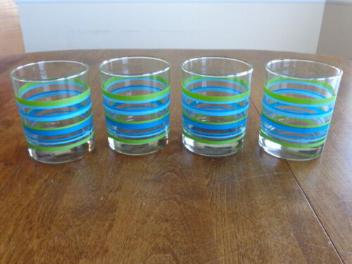 DOUBLE OLD FASHIONED GLASSES BLUE GREEN STRIPES LOT OF 4