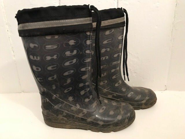456e64836911 Boys or Girls black wellies with reflector strip - size 31 (uk 12 ...