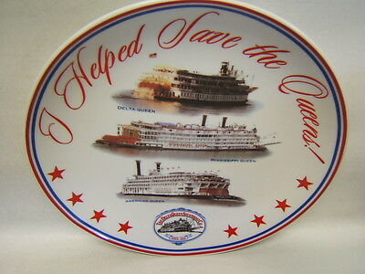 """Delta Queen Steam Boat Co. """"I Helped Save the Queen"""" Commemorative Plate"""