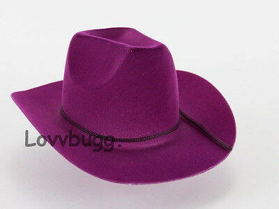 "Lovvbugg Purple Berry Cowboy Doll Hat for 18"" American Girl Clothes Accessory"