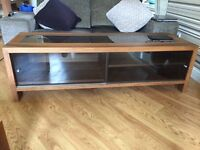 TV UNIT/CONSOLE/LARGE COFFEE TABLE AND TWO SMALL TABLES