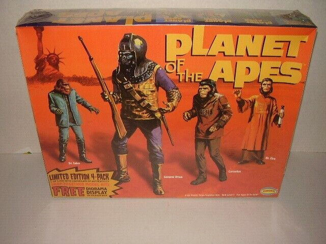 Aurora PLANET OF THE APES LIMITED EDITION 4-PACK MODEL KIT w/Diorama/COA SEALED