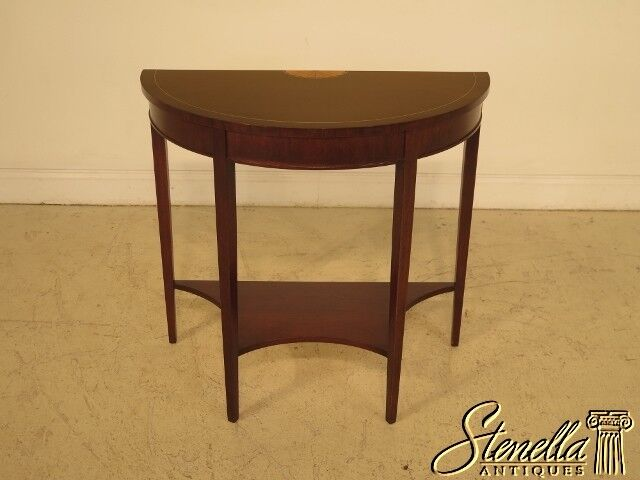 29149: Inlaid Mahogany 1/2 Round Federal Style Hall Table