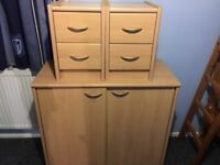 FULL BEECH COLOR BEDROOM/OFFICE SET EXCELLENT QAULITY AND CONDITION READ ADD BARGAIN AT £60 FOR LOT