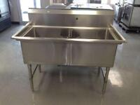 Stainless Steel 24 x 24 Double Commercial Sinks - Brand New!