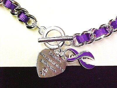 Purple Awareness Ribbon Link Bracelet Engraved Charm Silver Many Cancer Causes  (Purple Cancer)