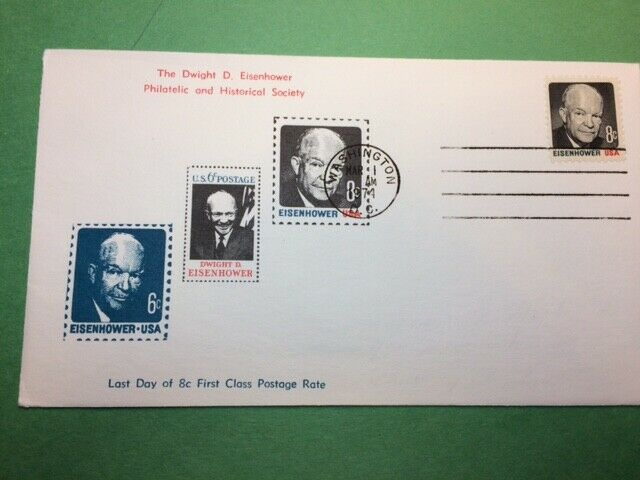 1394 8c Dwight Eisenhower Not FDC Last Day Of 8c Cancel First Class Postage 1974 - $1.31