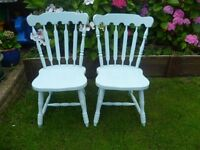 2 x Shabby Chic Wooden Farmhouse Chairs up-cycled in Duck Egg chalk paint (more chairs listed)