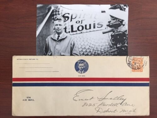 CHARLES A. LINDBERGH AIR MAIL ENVELOPE FLOWN BY HIM ON THE SPIRIT OF ST. LOUIS
