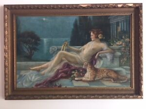 Original Oil on Canvass Empress with Leopard by Wilkie