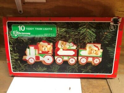 Vintage Christmas Around The World Teddy Bear Train Lights Set of 10