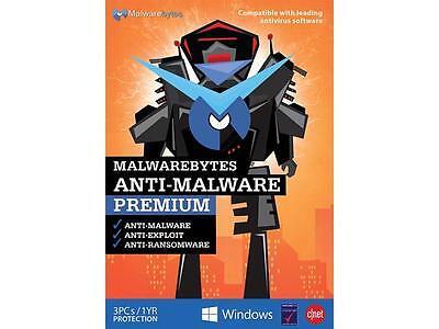 Malwarebytes Anti Malware Premium   3 Pc   1 Year  Key Card