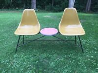 Vintage dual seating patio chair table