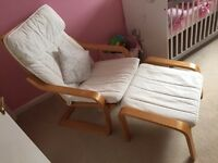 Ikea Poang chair and foot stool Nursery chair
