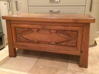 Solid oak carved chest/ bedding box,