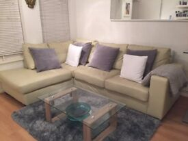 Large L Shaped Corner Cream Leather Sofa £200