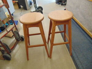2 Oak Bar Stools Like New