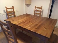Ikea dining table and x 4 dining chairs