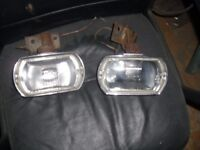 pair lucas clear fogs/driving lights and brackets-classic car