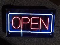 """Neon open sign used 20"""" wide X 12"""" tall $60"""