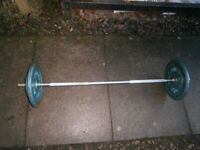Solid spinlock bar and 30kg plates, TOTAL 35kg